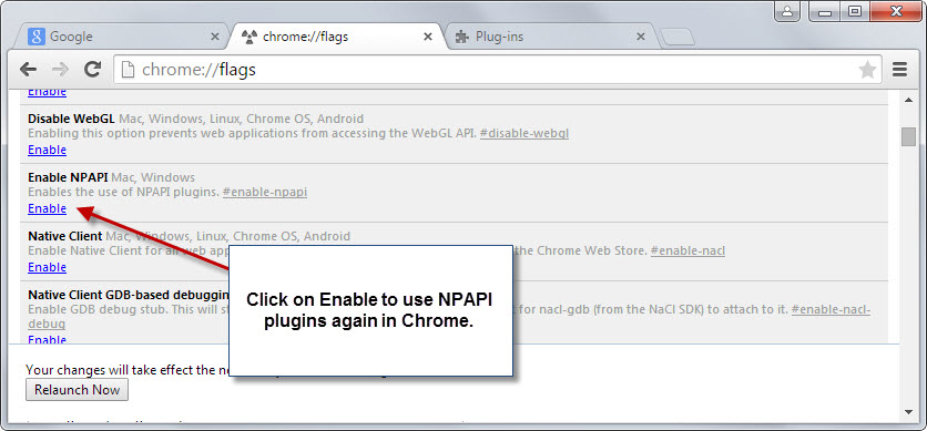 Enable JAVA in Chrome