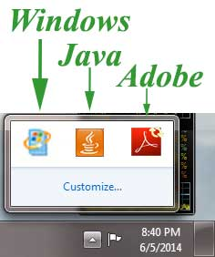 Legit Update Icons from Microsoft Windows, Adobe Reader, Java